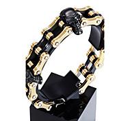 Hombre Pulseras charm Acero inoxidable Chapado en Oro Forma de Cráneo Dorado Joyas 1 pieza