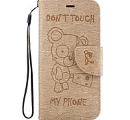 For Google Pixel XL Pixel PU Leather Material Bear Logo Embossed Solid Color Phone Case