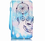 Blue Campanula Painting PU Phone Case for apple iTouch 5 6