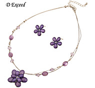 Brand Hot Sellinhg Purple Flower Jewelry Resin Alloy Set Earring and Necklace for Women JS140024
