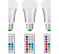 3pcs-10W E26/E27 LED Bulbs Color Changing  Daylight White 2-in-1 Dimmable with Remote Control 60W ReplacementRGBW