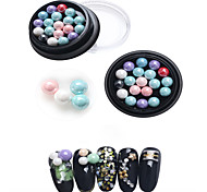 1PC  Nail Art Color Drill in The Drill Circular Diamond Colorful The Bottom Of The Tip Satellite Stone Six In a Box