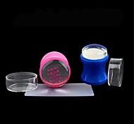 1set plástico 3,8 centímetros silicone geléia clara recarga cabeça do prego stamper raspador definir com tampa