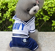 Собака Костюмы Комбинезоны Одежда для собак Мода Косплей Морской Темно-синий
