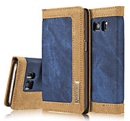 Luxury Flip Wallet Jeans+Genuine Leather Mobile Phone Case for Samsung Galaxy S6/S6 Edge/S7/S7 Edge