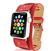 Luxury Glittery Bling Christmas Genuine Leather Watch Band for Apple Watch 38/42mm Iwatch Strap Tracker Wrist Band Strap