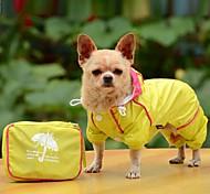 Собака Дождевик Одежда для собак Водонепроницаемый Сплошной цвет Желтый Красный Синий