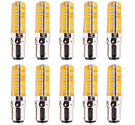 10Pcs YWXLight® Dimmable BA15D 7W 80 SMD 5730 500-700 LM Warm White / Cool White Corn Bulbs AC 110V / AC 220V