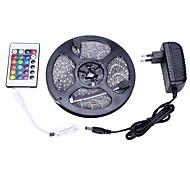 Комплект света rgb 5m 3528 300 свет ip65 24 пульта дистанционного управления 12v 3a источник питания