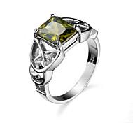 Ring AAA Cubic Zirconia Zircon Cubic Zirconia Alloy Dark Green Jewelry Casual 1pc