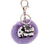 Key Chain Sphere Elephant Purple Metal Plush