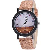 Unisex Armbanduhr Uhr Holz Quartz PU Band Braun Braun