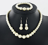 Jewelry Set Pearl Pearl Bridal White Daily 1set 1 Necklace 1 Pair of Earrings 1 Bracelet Wedding Gifts