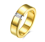 18K Gold/Titanium Plated Men Wedding Rings Wholesale AAA CZ Three Stone Rings for Men Stainless Steel Finger Rings For Men