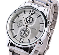 Men's fashion steel band watch False eye Roman numerals dial face watch