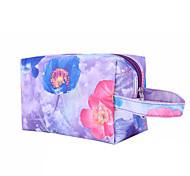 Makeup Storage Cosmetic Bag / Makeup Storage Nylon / PU Flower/Floral Quadrate 19x11.5x10cm Blue / Red / Purple