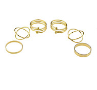 (6Pcs One Set) New Design Gold Color Band Rings