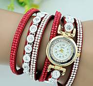 Women's Bracelet Watch Quartz Velvet Rhinestone Leather Band Charm