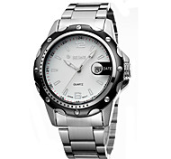 Men's Mechanical Watch Quartz Calendar Water Resistant / Water Proof Noctilucent Stainless Steel Band Luxury Silver