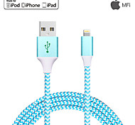 USB 2.0 Intrecciato Normale Cavi Per Apple iPhone iPad 120 cm Metallo Nylon Alluminio