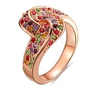 Ringe Kubikzirkonia Alltag Normal Schmuck Zirkon Rose Gold überzogen Damen Ring 1 Stück,8 Rotgold