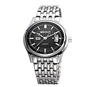 Men's Fashion Watch Quartz Calendar Water Resistant / Water Proof Stainless Steel Band Silver