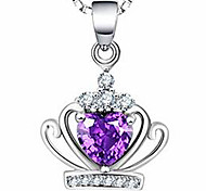 Women's Pendant Necklaces Crystal Crown Jewelry Sterling Silver Basic Jewelry For Casual 1pc