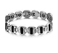 Men's Chain Bracelet Steel Simulated Diamond Fashion Silver Jewelry 1pc