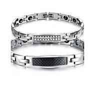 Men's Couple's Chain Bracelet Steel Simulated Diamond Jewelry Silver Jewelry 1pc