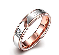 Anelli Senza pietre Matrimonio Feste Quotidiano Casual Gioielli Acciaio inossidabile Coppia Anello 1 pezzo,6 7 8 9 10 Oro rosa