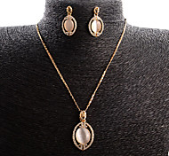 Jewelry Set Opal Opal Alloy Fashion Drop Rose Gold Wedding Daily 1set 1 Necklace 1 Pair of Earrings Wedding Gifts