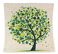 RayLineDo® Linen Cotton Square Throw Pillow Cover Green Tree Decorative Pillow Case CTJZ21-PC-GT
