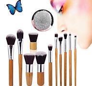 11Pcs Beauty Makeup Brushes Set Kit Premium Synthetic Kabuki Cosmetic Blending Blush Eyeshadow Concealer