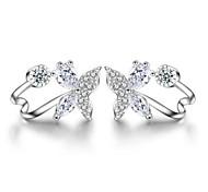 S925 zircon Silver Butterfly Earrings