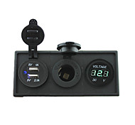 12V/24V Power charger3.1A USB port and 12V voltmeter gauge with housing holder panel for car boat truck RV(With green voltmeter)