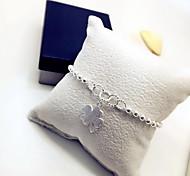 Armbänder Ketten- & Glieder-Armbänder Sterling Silber Blumenform Modisch Schmuck Geschenk Silber,1 Stück