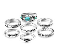 Ring Acrylic Party Daily Casual Jewelry Alloy Women Ring 1set Silver Japanese Korean Fashion Personality Beautiful 7pcs