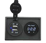 12v / 24v 3.1a двойной USB разъем и водить вольтметр с держателем корпус панель для автомобиля лодки грузовик с.в.