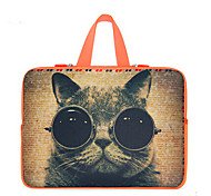 For MacBook Air Pro 11.3'' 13.6'' 15.4'' Laptop Sleeves Waterproof  Soft Cover NoteBook Handbags Flexible Cat Cartoon Pattern Thickening Plus Velvet