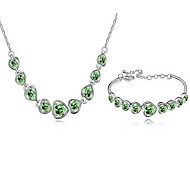 Jewelry Set Crystal Gold Plated Alloy White Fuchsia Green Blue Rainbow Party 1set 1 Necklace 1 Bracelet Wedding Gifts