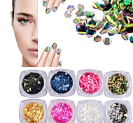 New Nail Art Decoration Sequins Nail Art Glitter Round Mermaid Sequins Acrylic Tips UV Gel Laser Shining Decors  12 Style