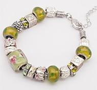 Bracelet Chain Bracelet Alloy Glass Locket Heart Alphabet Shape Others Love Handmade Fashion Anniversary Gift Jewelry GiftYellow Blue