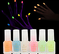 6pcs Fashion Jelly Glow Nail Polish Luminous Nail Polish