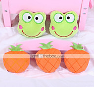 Dog Toy Pet Toys Chew Toy Plush Toy Squeak / Squeaking Fruit Textile Orange Green