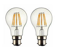 2PCS 6W B22 LED Filament Bulbs G60 6 COB 600 lm Warm White Dimmable AC 220-240 or AC 110-130 V