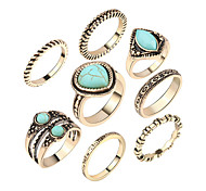 Ring Acrylic Party Daily Casual Jewelry Alloy Women Ring 1set Silver Japanese Korean Fashion Personality Beautiful 8pcs