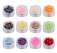 12pcs/set Mix Sizes Round Colorful 3D Nail Art Pearl Decorations DIY Beauty Nail Beaads Jewelry Tools