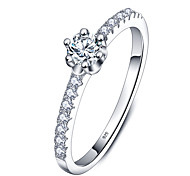 Band Rings Sterling Silver Zircon Round Elegant Silver Jewelry Wedding Party Daily Casual 1pc