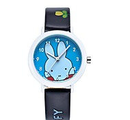 Kid's Couple's Fashion Watch Cute Rabbit Casual Watch Japanese Quartz PU Band Casual Black White Brown Wrist Watch