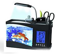 Mini USB LCD Desktop Lamp Fish Tank Light Aquarium LED Clock